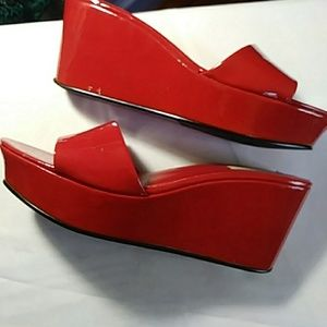 Nine West red patent wedge